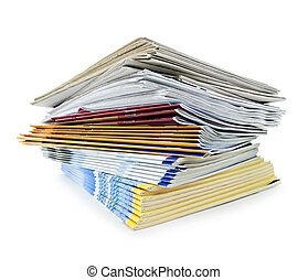 stapel, van, tijdschriften, en, kranten