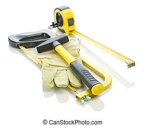 stapel, van, werkende , gereedschap