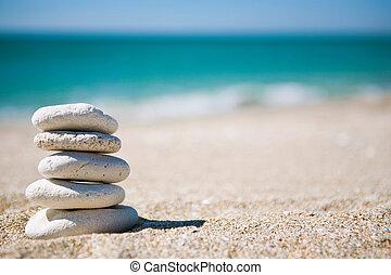 stapel, van, wite stenen
