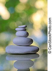stapel, van, witte , kiezelsteen, stenen