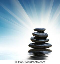 stapel, van, zen, stenen