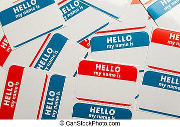 stapel, von, name, etikette, oder, abzeichen