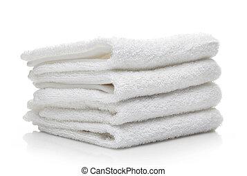 stapel, von, weißes, hotel, handtücher, auf, a, weißer...