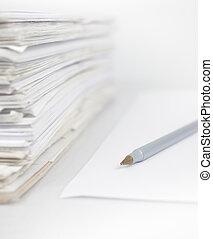 stapel, witte , vrijstaand, papieren