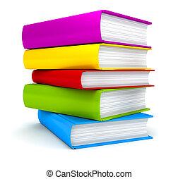 stapla av böcker, vita, bakgrund