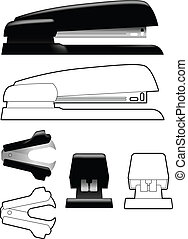 Stapler and staple remover in line art and shaded views