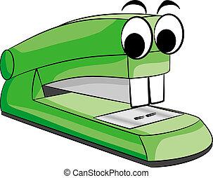 stapler animal - vector illustratio of a green stapler...