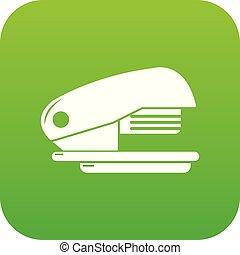 Stapler icon green vector