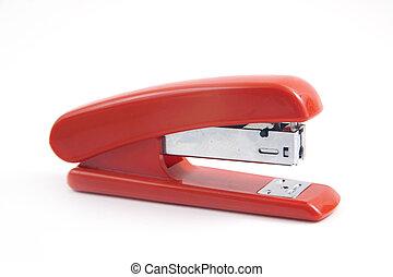 Stapler - Red stapler isolated on white
