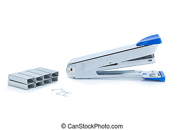 stapler steel color blue and staples isolated on white background