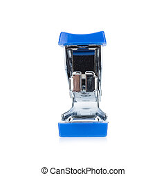 stapler steel color blue isolated on white background