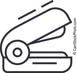 stapler vector line icon, sign, illustration on background, editable strokes