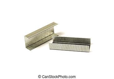 Staples for stapler close-up isolated on white background