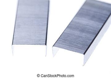 Metalic staples isolated on white