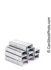 Staples on isolated white background