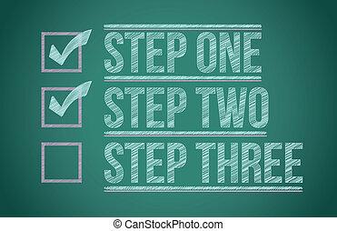 stappen, checkmark, bord