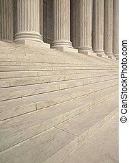 stappen, en, kolommen, op, de, ingang, van, de verenigde staten, opperst hof, in, washington dc