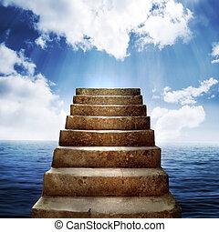 stappen, en, wolken