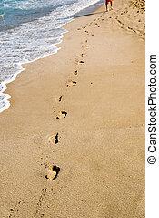 stappen, in, zand