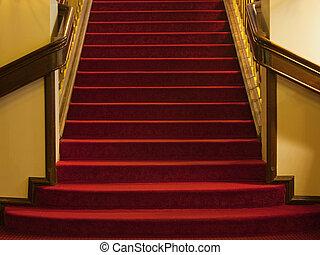 stappen, met, rood tapijt