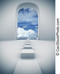 stappen, om te, hemel