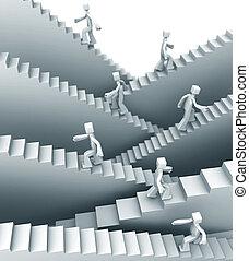 stappen, om te, succes, of, groei, concept