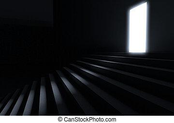 stappen, toonaangevend, aan te steken, in, de, duisternis