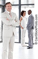 starší, člověk obchodního ducha, stálý, do, od, o, business četa