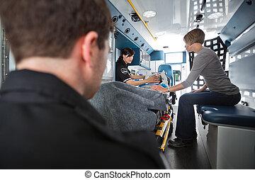 starší, lékařský emergency, péče