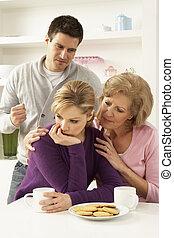 starší, matka, interferring, s, dvojice, obout si, argument, doma
