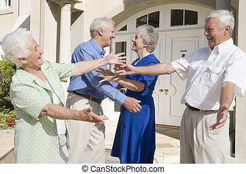 starší, průvodce, dvojice, pozdrav