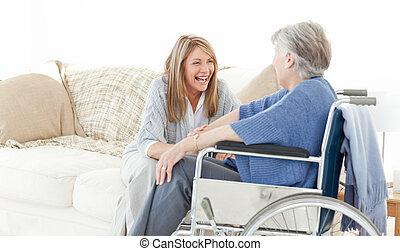 starší, průvodce, mluvící, dohromady