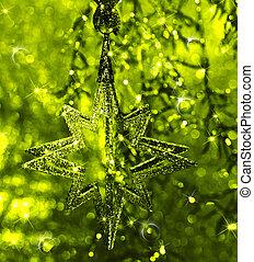 star., 光沢がある, クリスマス, decoration.