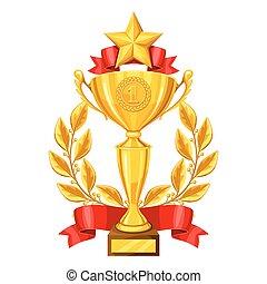 star., 金のコップ, 花輪, イラスト, スポーツ, 競争, 現実的, 賞, 月桂樹, 企業である, ∥あるいは∥