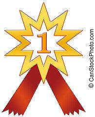 Star 1 badge - Star number 1 badge