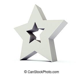 Star 3 dimensional background - Grey star 3 dimensional...
