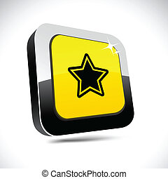 Star 3d square button.