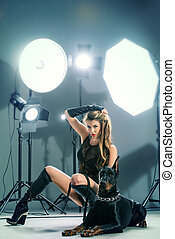 star actress - Attractive young woman in fitting leather...
