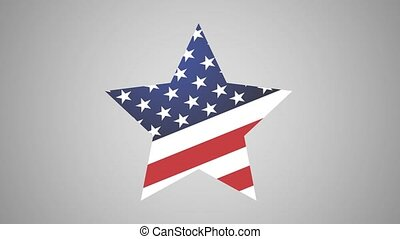 Star American Icon With Wings Motion Graphic