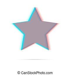 Star anagliph flat icon