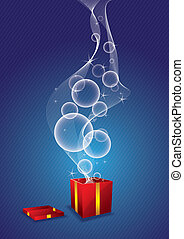 star and bubble floating from gift box