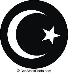 Star and crescent button on white background. Vector...
