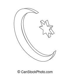 Star and crescent icon, isometric 3d