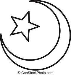 Star and crescent linear icon in a flat design in black color. Vector illustration eps10