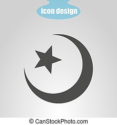 Star and crescent on a gray background. Vector illustration. Islamic symbol