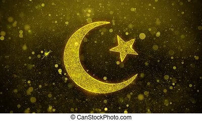 Star and Crescent symbol Islam religion Icon Golden Glitter...