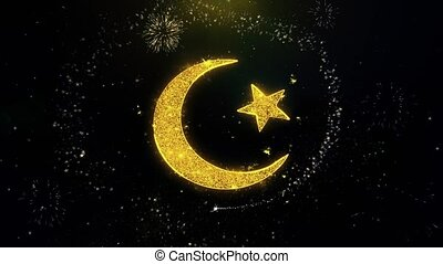 Star and Crescent symbol Islam religion Icon on Gold...