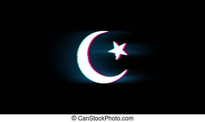 Star and Crescent symbol Islam religion Symbol on Glitch...