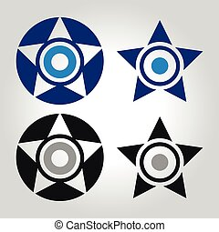 star and evil eye logo, icon and symbol vector illustration