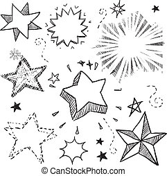 Doodle style star, explosion, and firework vector illustration. Can also be used as stickers or badges.